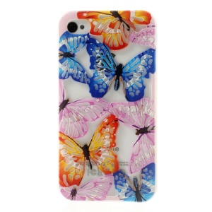 Hollow Out Butterflies for iPhone 4 4S Glitter Powder Gel TPU Cover - Colorful