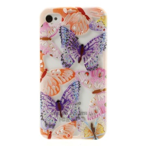 Hollow Out Butterflies for iPhone 4 4S Glitter Powder TPU Gel Case - Roseo