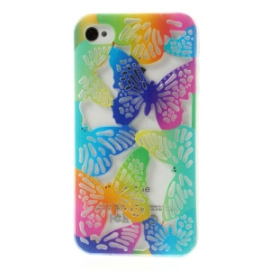 Hollow Out Butterflies Glitter Powder Soft TPU Shell for iPhone 4 4S - Blue