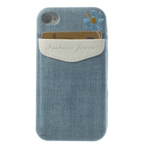 Card Storage Pocket Blue Jean Skin Soft TPU Case for iPhone 4s 4 - White