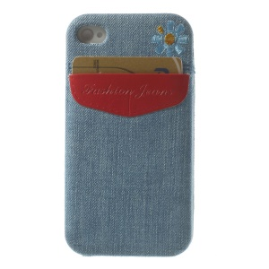 Card Storage Pocket Blue Jean Skin TPU Case for iPhone 4s 4 - Red