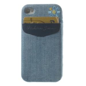 For iPhone 4s 4 Denim Jeans Card Storage Pocket TPU Cover - Blue