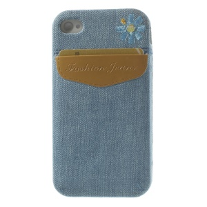 For iPhone 4s 4 Denim Jeans Card Storage Pocket TPU Gel Case - Brown