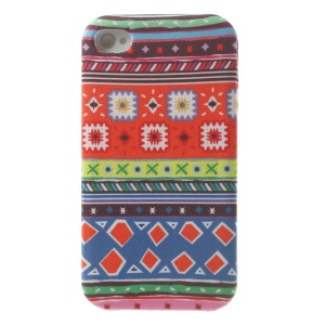 For iPhone 4s 4 Color Mixing Tribal Pattern Cloth Skin Soft TPU Case