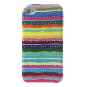Colorful Dots & Stripes Cloth Skin Soft TPU Gel Cover for iPhone 4s 4