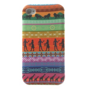 African Tribal Pattern Cloth Skin Soft TPU Gel Cover for iPhone 4s 4