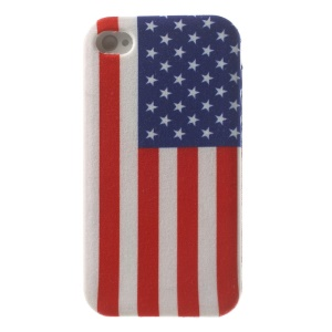 USA Flag Cloth Skin Flexible TPU Jelly Case Shell for iPhone 4s 4