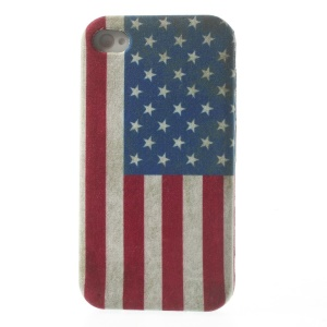 Vintage American National Flag Cloth Skin Flexible TPU Jelly Cover for iPhone 4s 4