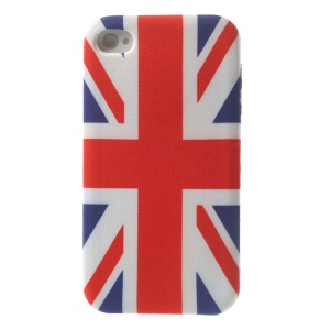 UK Union Jack Cloth Skin Flexible TPU Jelly Cover for iPhone 4s 4