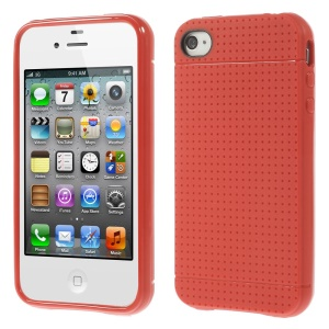 Dream Mesh Durable Gel TPU Case for iPhone 4 4s - Red