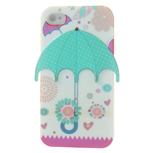 3D Green Dots Umbrella Blu-ray IMD TPU Skin Case for iPhone 4 4s