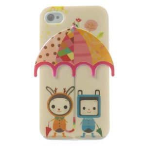 For iPhone 4 4s Two Babies Under Colorful Umbrella Blu-ray IMD Gel TPU Cover