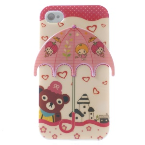 For iPhone 4 4s Rilakkuma & Girls Pattern Umbrella Blu-ray IMD TPU Shell Case