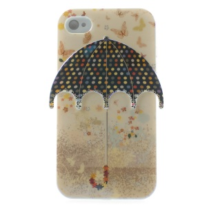 Butterflies & 3D Colorful Dots Umbrella Blu-ray IMD TPU Back Case for iPhone 4 4s