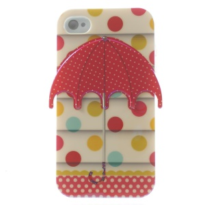 3D Red Dots Umbrella Blu-ray IMD TPU Protector Case for iPhone 4 4s