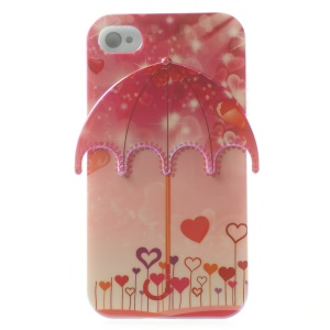 3D Sparkle and Hearts Umbrella Blu-ray IMD TPU Case Cover for iPhone 4 4s