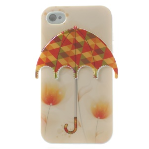 Blu-ray IMD 3D Colorful Triangles Umbrella TPU Back Cover for iPhone 4 4s