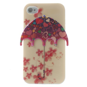 Blu-ray Flowers & Hearts Design Umbrella IMD TPU Shell Case for iPhone 4 4s