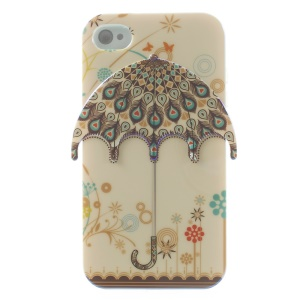 3D Peacock Feather Umbrella for iPhone 4 4s Blu-ray IMD TPU Phone Case