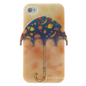Multiple Fruits 3D Umbrella Blu-ray IMD TPU Gel Case for iPhone 4 4s
