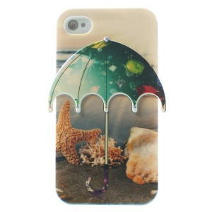 Seaside & Diamond Pattern 3D Umbrella Blu-ray IMD TPU Cover for iPhone 4 4s