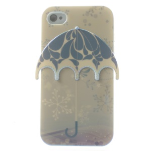 For iPhone 4 4s Blu-ray IMD Grey 3D Umbrella Soft TPU Case Accessory