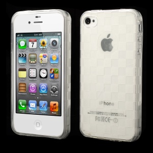 Unique Square TPU Gel Case for iPhone 4s 4 - Transparent