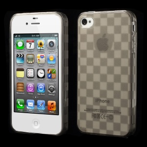 Unique Square TPU Shell Case for iPhone 4s 4 - Grey