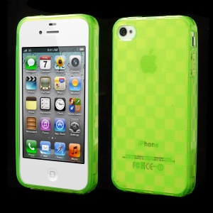 Unique Square TPU Shell for iPhone 4s 4 - Green