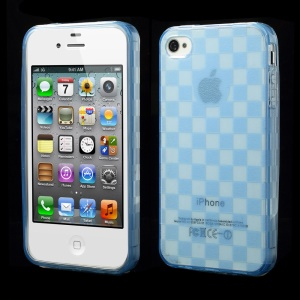 Unique Square TPU Shell Accessory for iPhone 4s 4 - Blue