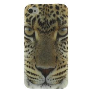 Leopard Face Pattern TPU Gel Cover for iPhone 4s 4