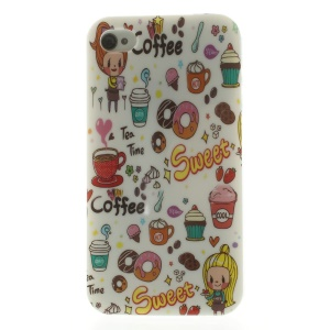 Sweet Coffee & Girl Pattern TPU Skin Case for iPhone 4s 4