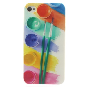 Messy Water Color Palette Brushes 0.7mm Slim TPU Case for iPhone 4s 4