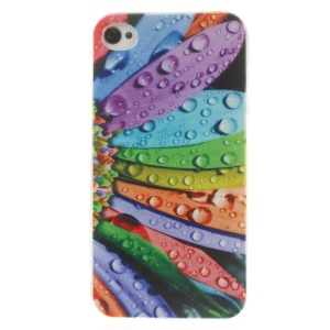Colorful Petal & Dew 0.7mm Slim TPU Cover for iPhone 4s 4
