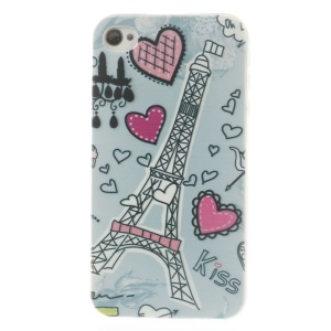 Eiffel Tower & Heart 0.7mm Slim TPU Gel Case for iPhone 4s 4