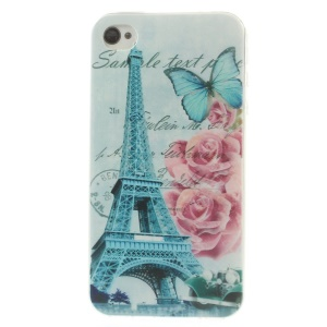 Eiffel Tower & Blooming Rose 0.7mm Slim TPU Gel Shell for iPhone 4s 4