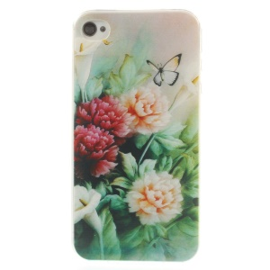 Peony & Butterfly 0.7mm Slim TPU Skin Case for iPhone 4s 4