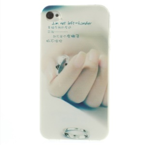 Hand & Ring Pattern 0.7mm Slim TPU Skin Cover for iPhone 4s 4