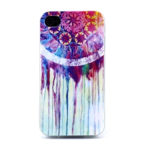 Protective TPU Skin Case for iPhone 4s 4 - Watercolor Dream Catcher