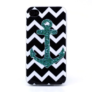 Protective TPU Gel Shell for iPhone 4s 4 - Black Chevron Stripe & Anchor