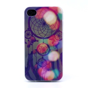 Protective TPU Skin Cover for iPhone 4s 4 - Colorful Dream Catcher