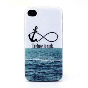 Protective TPU Gel Back Shell for iPhone 4s 4 - Anchor & Sea