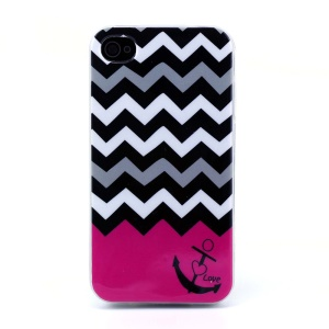 Protective TPU Gel Cover for iPhone 4s 4 - Chevron Stripe & Anchor