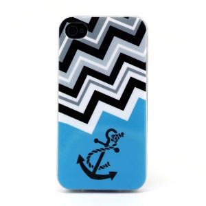 Protective TPU Gel Case for iPhone 4s 4 - Chevron Stripe & Nautical Anchor