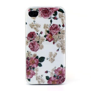 Flexible TPU Shell Cover for iPhone 4s 4 - Spray Roses