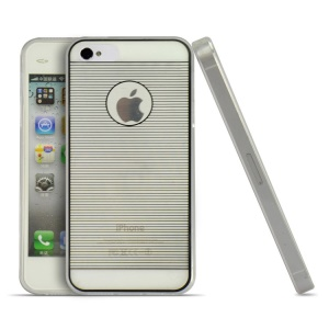 Black Horizontal Lines 0.3mm Ultrathin Soft TPU Case for iPhone 4s 4