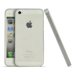 White Horizontal Lines 0.3mm Ultrathin Soft TPU Shell for iPhone 4s 4