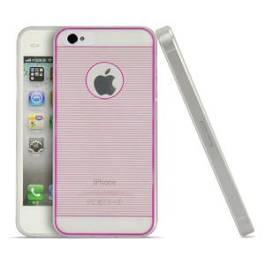 Rose for iPhone 4s 4 Horizontal Lines 0.3mm Ultrathin TPU Skin Case