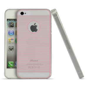 Pink for iPhone 4s 4 0.3mm Ultrathin Horizontal Lines TPU Cover Case
