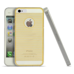 Yellow 0.3mm Ultrathin Horizontal Lines TPU Gel Case for iPhone 4s 4
